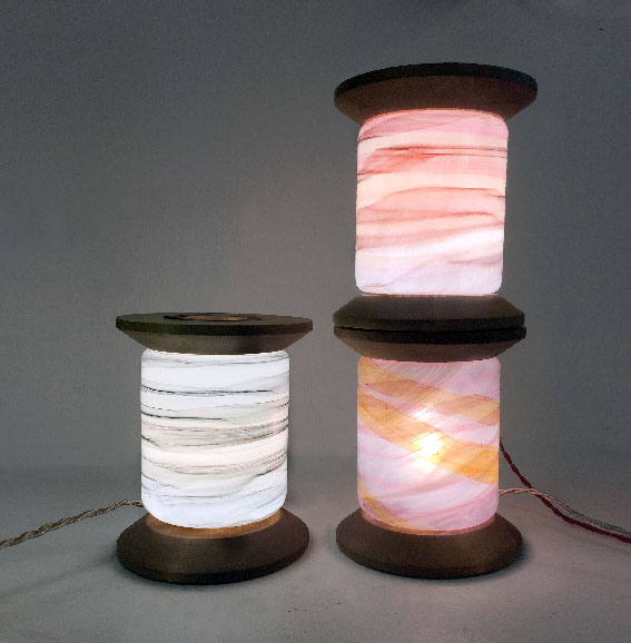 """Kehrä"" unique table lamps in hand blown glass & wood."